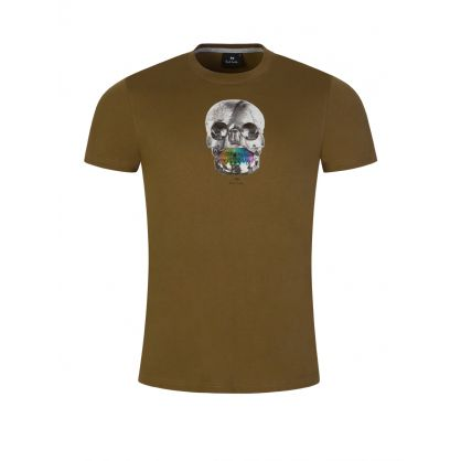 Green Slim-Fit Organic Cotton 'Skull' Print T-Shirt