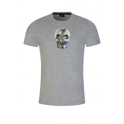 Grey Slim-Fit Organic Cotton 'Skull' Print T-Shirt