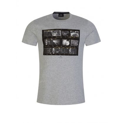 Grey Slim-Fit Negatives Print T-Shirt