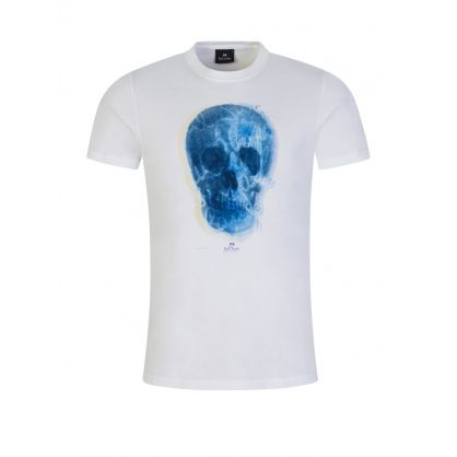 White Slim-Fit 'Blue Skull' T-Shirt