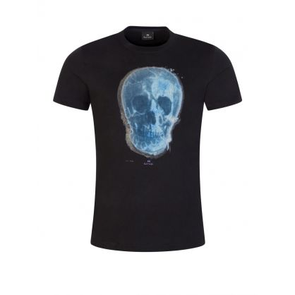 Black Slim-Fit 'Blue Skull' T-Shirt