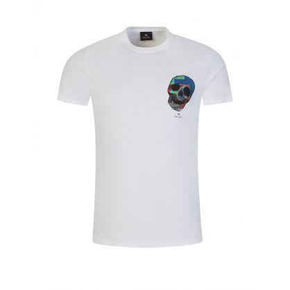 White Slim-Fit 'Logo Skull' T-Shirt