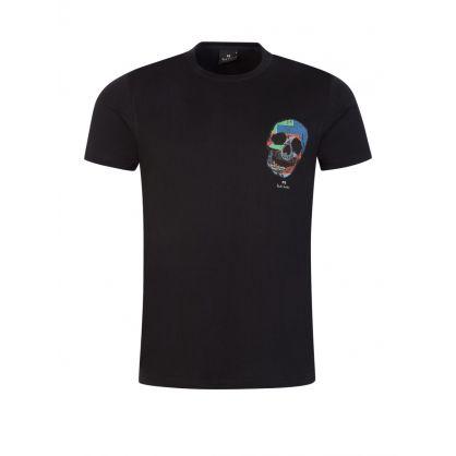 Black Slim-Fit 'Logo Skull' T-Shirt