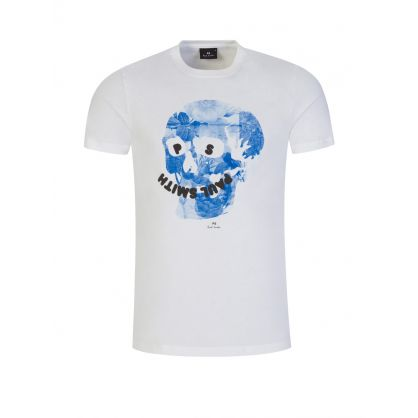 White Slim-Fit 'Floral Happy Skull' Print T-Shirt