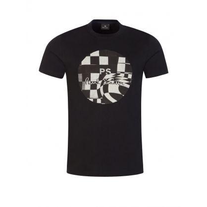 Black Chequered-Print Logo T-Shirt