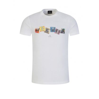 White 'Stamp Collection' Print T-Shirt