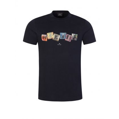 Black 'Stamp Collection' Print T-Shirt