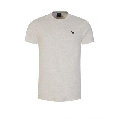 Grey Slim-Fit Zebra Badge T-Shirt