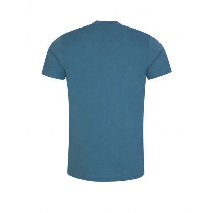 Blue Slim-Fit Zebra Badge T-Shirt