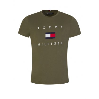 Green Embroidered Flag Logo T-Shirt