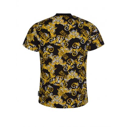 Black Slim-Fit Baroque-Print T-Shirt
