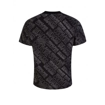 Black All-Over Logo Print T-Shirt