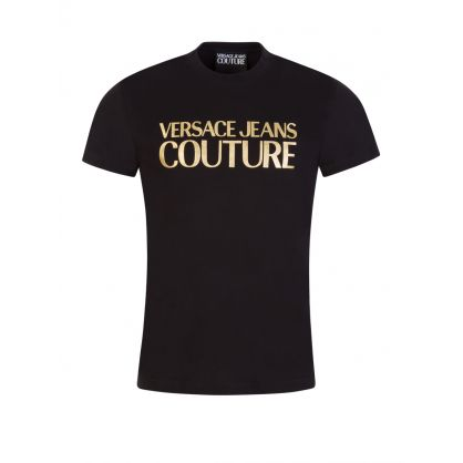 Black Slim Fit Foil Logo T-Shirt
