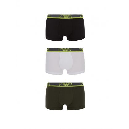 Green/White Stretch Cotton Trunks 3-Pack