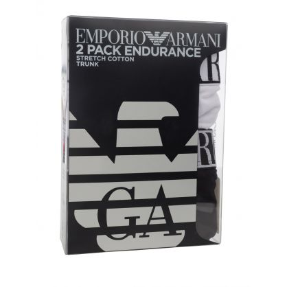 White/Black Stretch Cotton Endurance Trunks 2-Pack