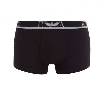 Black/Green Stretch Cotton Trunks 3-Pack
