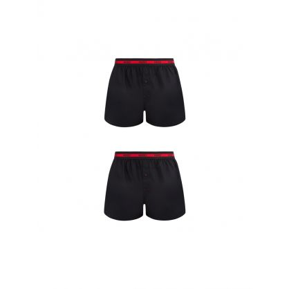 Black Woven Cotton Boxer Shorts Twin Pack