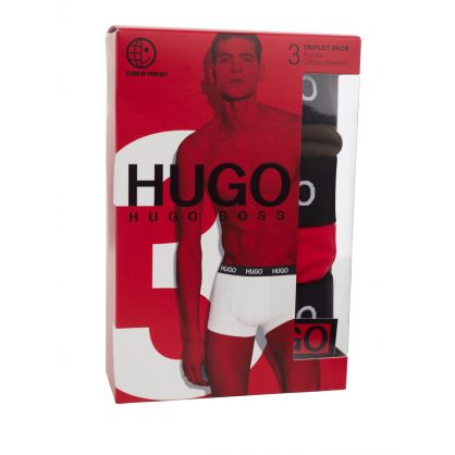 Black/Grey/Red 3-Pack Cotton Stretch Boxers