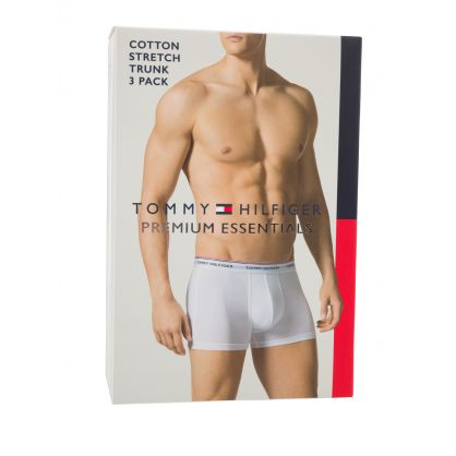 Black/Grey/White 3-Pack Stretch Cotton Trunks