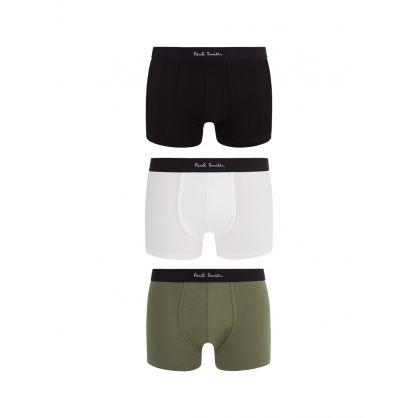 White/Black/Green Boxer Briefs 3-Pack