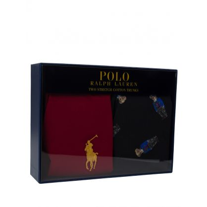 Red/Black Polo Bear Boxer Shorts Gift Set 2-Pack