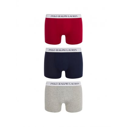 Grey/Red/Navy 3-Pack Classic Trunks