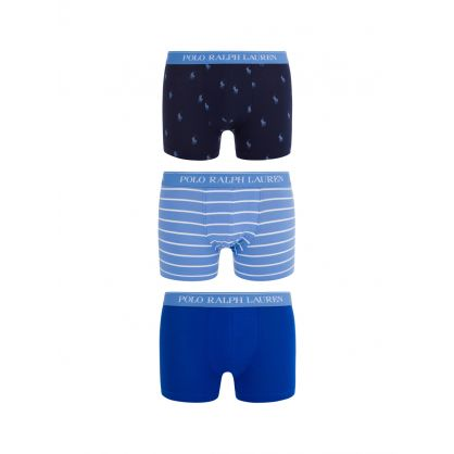 Blue 3-Pack Classic Stretch Cotton Trunks