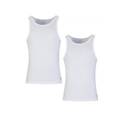 White Twin Pack Cotton Vest Tops