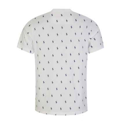 White All-Over Player Print Sleep T-Shirt