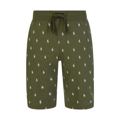 Green All-Over Player Print Sleep Shorts
