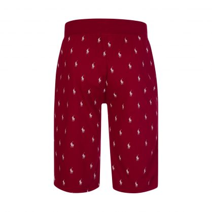 Red All-Over Pony Sleep Shorts