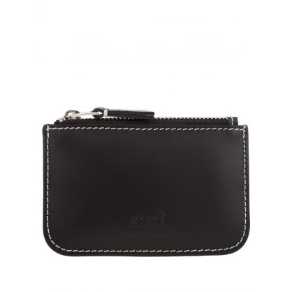 Black Leather Zip Coin Purse