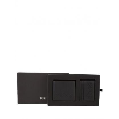Black Logo-Emed Leather Wallet & Card Holder Gift Set
