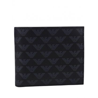 Black Monogram Logo Bi-Fold Wallet