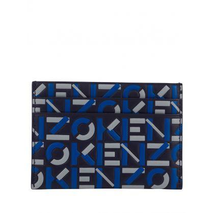 Navy Monogram Leather Card Holder