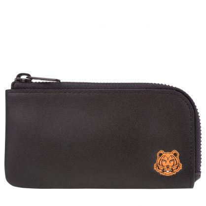 Black Tiger Crest Leather Card Holder