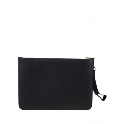 Black Fair-Isle Thunderbolt Leather Medium Zip-up Pouch