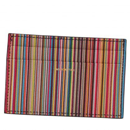 Paul Smith Black Signature Stripe Leather Credit Card Holder