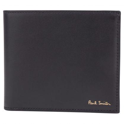 Paul Smith Black Leather Signature Stripe Interior Billfold & Coin Wallet