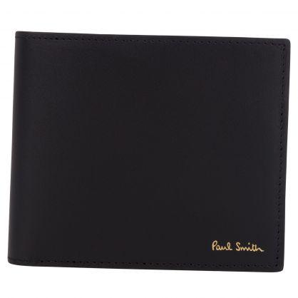 Paul Smith Black Leather Signature Stripe Interior Billfold Wallet