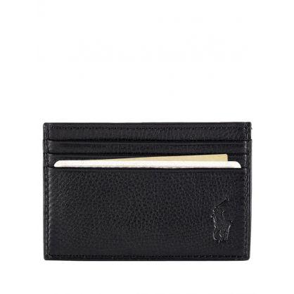 Black Pebbled Leather Card Holder