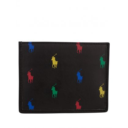 Black All-Over Pony Leather Card Case