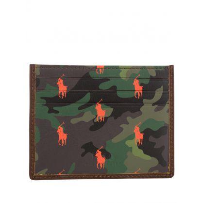 Camo-Print Leather Card Case