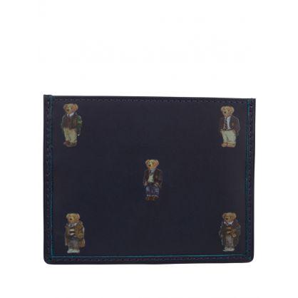 Navy Polo Bear Leather Card Case