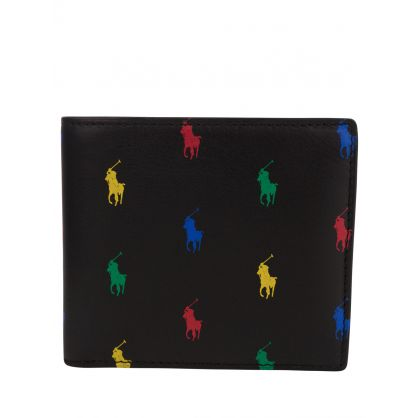 Black All-Over Pony Leather Billfold Wallet