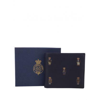 Navy Polo Bear Leather Billfold Wallet