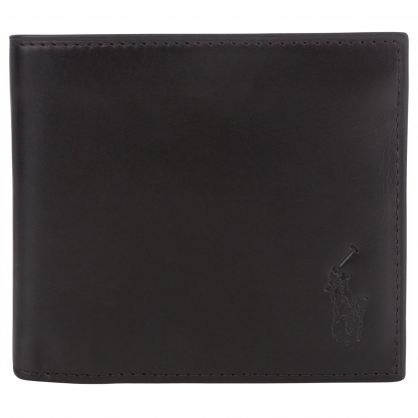 Black Smooth Leather Pony-Print Wallet