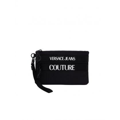 Black Logo-Embossed Clutch Bag
