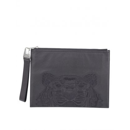 Black Leather Tiger Pouch
