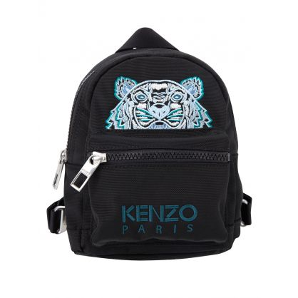 Black Mini Tiger Canvas Backpack